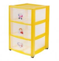 Комод для игрушек с аппликацией, 3 ящика, желтый, Пластишка