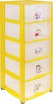 Комод для игрушек Пластишка с аппликацией 5 ящиков, желтый