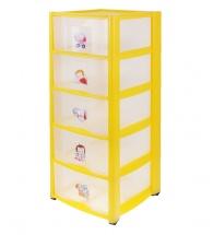 Комод для игрушек с аппликацией, 5 ящиков, желтый, Пластишка