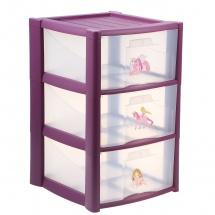 Комод для игрушек, 3 ящика, сиреневый, Пластишка