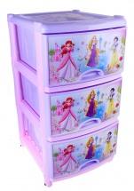 """Комод для игрушек """"Принцессы. Дисней"""", 3 ящика, сиреневый, Альтернатива"""