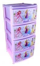"""Комод для игрушек """"Принцессы. Дисней"""", 4 ящика, сиреневый, Альтернатива"""