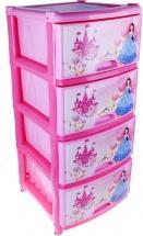Комод для игрушек Альтернатива Сказочное королевство 4 ящика, розовый