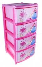 """Комод для игрушек """"Сказочное королевство"""", 4 ящика, розовый, Альтернатива"""