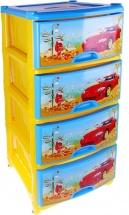 Комод для игрушек Альтернатива Автомобиль, 4 ящика