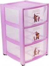 Комод для игрушек Пластишка Маша и Медведь 3 ящика, сиреневый