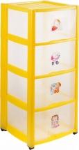 Комод для игрушек Пластишка с аппликацией 4 ящика, жёлтый