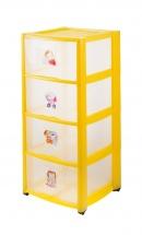 Комод для игрушек с аппликацией, 4 ящика, жёлтый, Пластишка