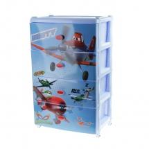 """Комод для игрушек """"Самолеты. Дисней"""" на колесиках, 4 выдвижных ящика, цвет голубой"""