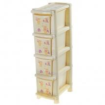 """Комод для игрушек """"Bears"""", 4 ящика, слоновая кость, узкий, Little Angel"""