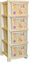 Комод для игрушек Little Angel Bears 4 ящика, слоновая кость