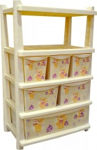 Комод для игрушек Little Angel Bears с полками 6 ящиков, слоновая кость
