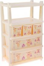 Комод для игрушек Little Angel Bears с полками 5 ящиков, слоновая кость