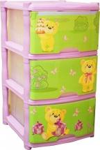 Комод для игрушек Little Angel Bears Tutti 3 ящика, лавандовый