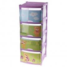 "Комод для игрушек ""Bears Tutti"", 4 ящика, лавандовый, Little Angel"