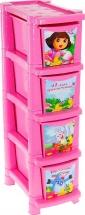 Комод для игрушек Пластик центр Даша Путешественница 4 ящика, розовый