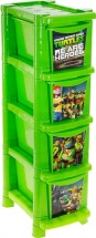 Комод для игрушек Пластик центр Черепашки Ниндзя 4 ящика, зеленый