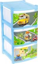 Комод для игрушек Пластик центр City Cars 3 ящика, голубой