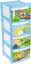 Комод для игрушек Пластик центр City Cars 4 ящика, голубой