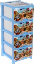 Комод для игрушек Виолет Пираты 4 ящика, голубой