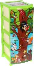 Комод для игрушек Виолет Дерево знаний 4 ящика, зелёный