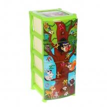 """Комод для игрушек """"Дерево знаний"""", 4 ящика, зелёный, Виолет"""
