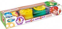 Пальчиковые краски Центрум Фиксики 4 цвета со штампиками