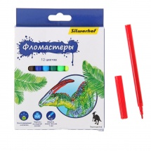 "Фломастеры ""Динозавры"", 12цв., Silwerhof"