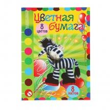 Бумага цветная двухсторонняя, А4, 8 листов, 8 цветов, Бриз