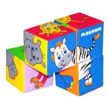 """Игрушка кубики """"Собери картинку - Животные африки"""", Мякиши"""