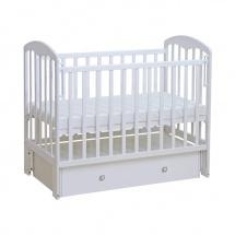 """Детская кроватка """"Фея"""" с поперечным маятником и ящиком, цвет белый"""