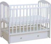 Кроватка Фея с поперечным маятником и ящиком, белый