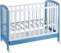 Кроватка Фея 600, белый/синий