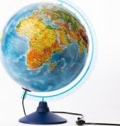 """Глобус Земли """"Физико-политический"""" рельефный, с подсветкой, d 320 мм, серия Евро, Globen"""