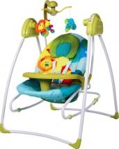 Электрокачели Baby Care Butterfly 2 в 1 с адаптером, зеленый