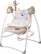 Электрокачели Baby Care Butterfly 2 в 1 с адаптером, латте
