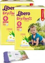 Трусики Libero Dry Pants 4 (7-11 кг) 54 шт + салфетки