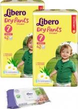 Трусики Libero Dry Pants 7 (16-26 кг) 42 шт + салфетки