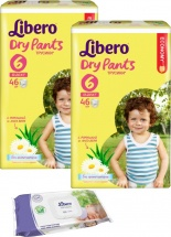 Трусики Libero Dry Pants 6 (13-20 кг) 46 шт + салфетки