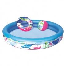 Набор пляжный: бассейн детский круглый, 147 х 25 см (251 л) + круг 51 см + мяч 41 см