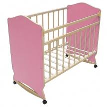 """Детская кроватка """"Морозко"""", колесо-качалка, Розовый, ВДК"""