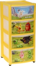 Комод для игрушек Пластишка Аngry birds 4 ящика, желтый