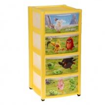 "Комод для игрушек ""Аngry birds"", 4 ящика, желтый, Пластишка"