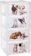 Комод для игрушек Пластишка Домашние питомцы 4 ящика, бесцветный