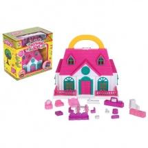Дом для кукол переносной, с куколками и мебелью