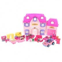 """Дом для кукол """"Большая семья"""" с мебелью, куколками, аксессуарами, световые и звуковые эффекты, в пакете"""