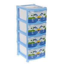"""Комод для игрушек """"Дельфин"""", 4 выдвижных ящика, цвет голубой, Виолет"""