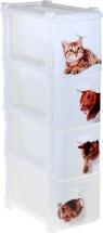 Комод для игрушек Idea Котята 4 ящика, белый