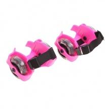 Ролики для обуви раздвижные мини, розовые, SLand