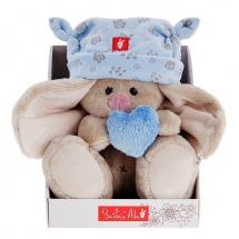 """Мягкая игрушка """"Зайка Ми"""" в голубой шапке с сердечком, малыш, 15 см, Зайка Ми"""